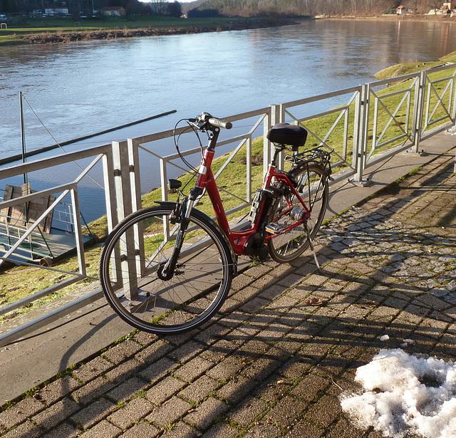 :-) Radtour nach Rathen zum letzten Schnee :-)