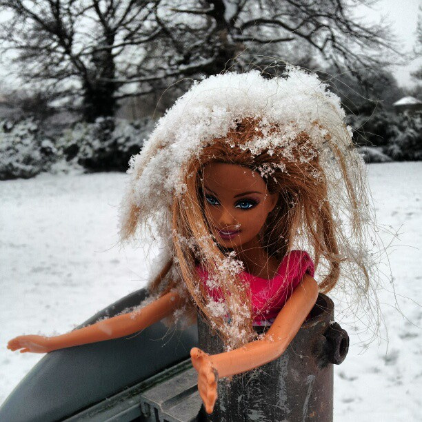 Barbie in distress!