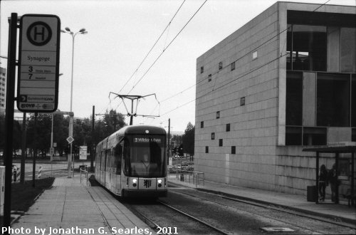 Synagoge Tram Stop, Picture 2, Edited Version, Dresden, Saxony, Germany, 2011