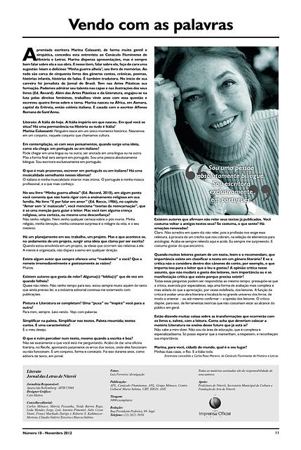 Literato 10 - Pág. 11 - Entrevista de Marina Colassanti ao CFHL