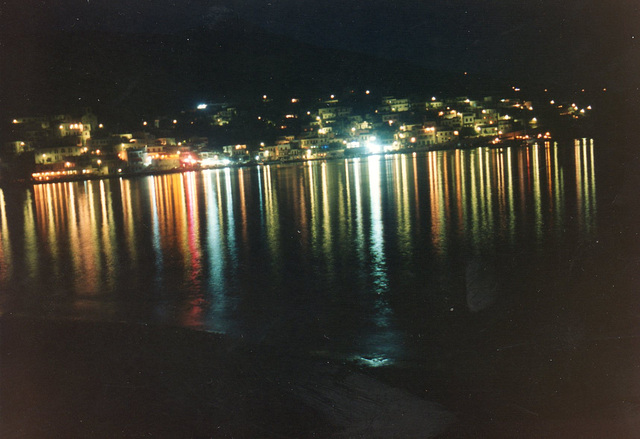 Lights reflected on the sea in Greece
