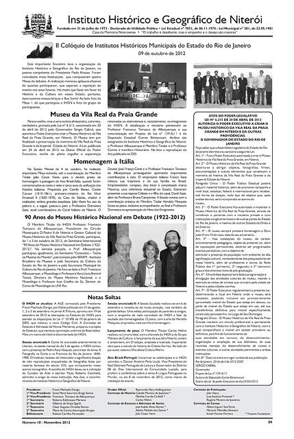 Literato 10 - Novembro - 2012 - Pág. 11 - Instituto Histórico e Geográfico de Niterói