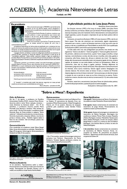 Literato 10 - Novembro - 2012 - Pág. 05 - Academia Niteroiense de Letras