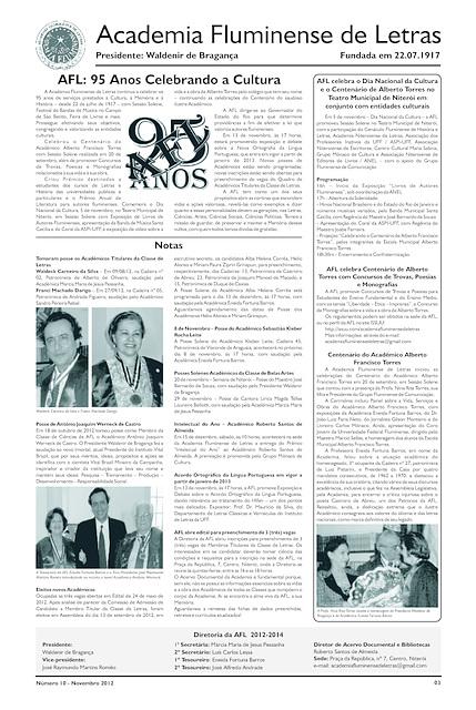 Literato 10 - Novembro - 2012 - Pág. 03 - Academia Fluminense de Letras