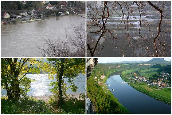 Die Elbe bei Hoch- und Normal-Wasser