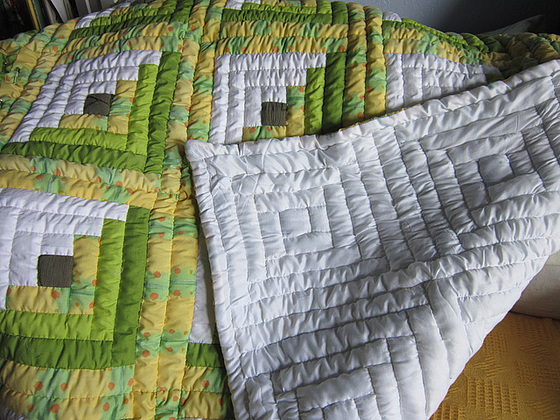The underside of the quilt