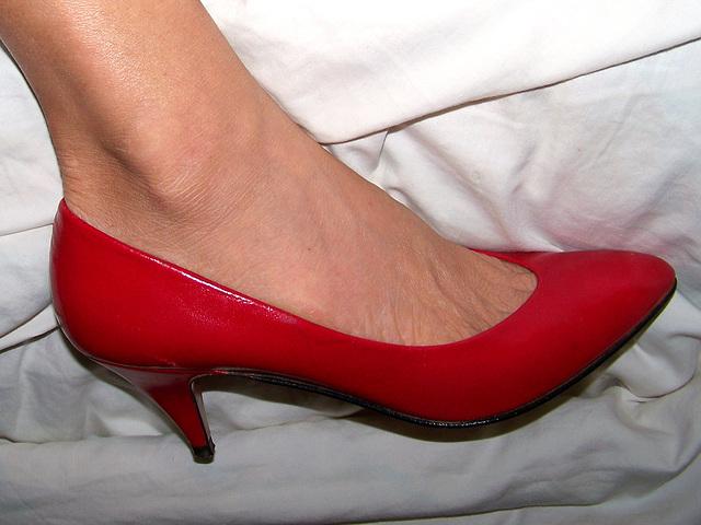 red caressa heels