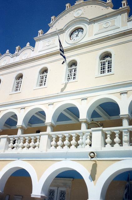 Elegant facade of the church on Tinos