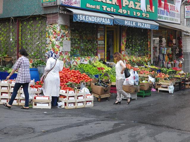 Etal de légumes.