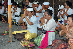 Worshippers praying to Hindu gods