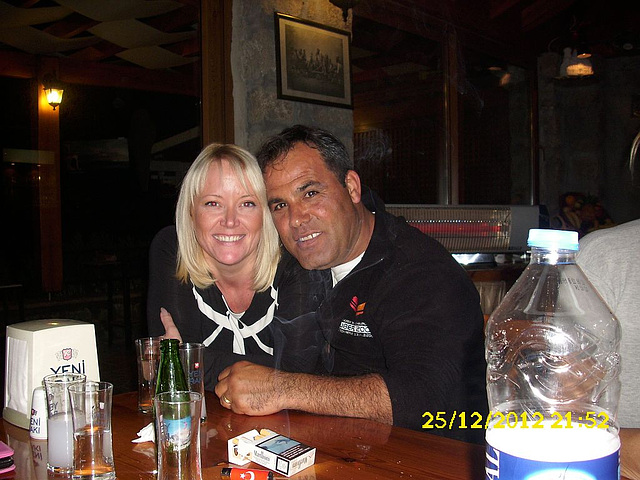 The happy couple in Dogan's restaurant