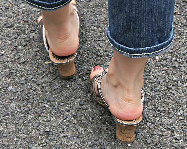 well cared for feet in wedge heels