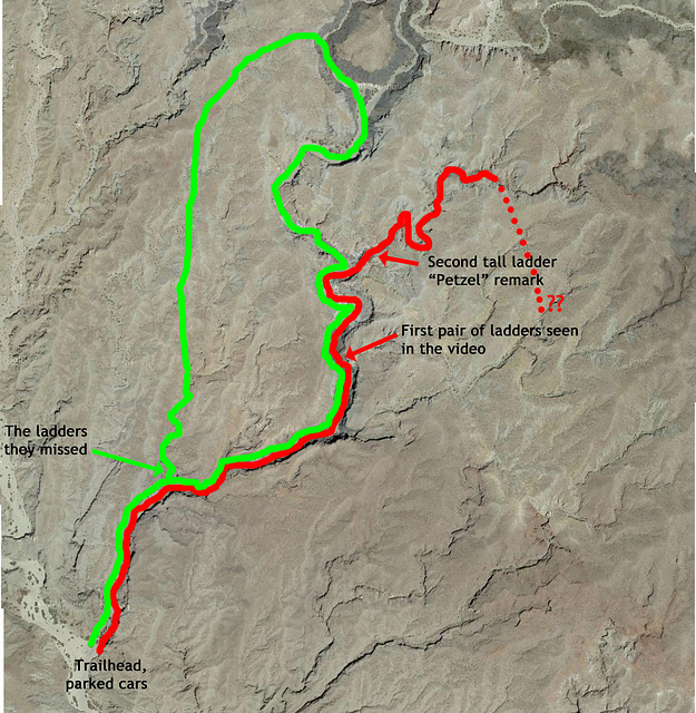 Ladder Canyon with estimated routes