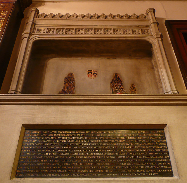 st.botolph aldersgate, london,tomb of 1563 of lady anne packington and her husband sir joseph , incised and painted to look akin to a brass