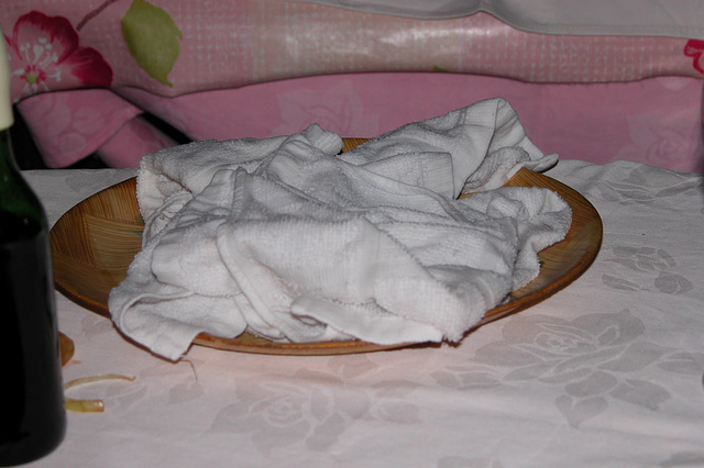 My Maundy Thursday - those warm hot towellettes discarded after use