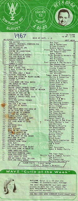 WAVZ Song List 1967 #1 - View Large