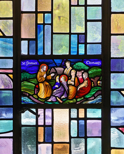 Saint Finnian of Clonard Window in the Irish Room – Cathedral of Learning, University of Pittsburgh, Forbes Avenue, Pittsburgh, Pennsylvania