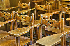 Desks in the Yugoslav Room – Cathedral of Learning, University of Pittsburgh, Forbes Avenue, Pittsburgh, Pennsylvania
