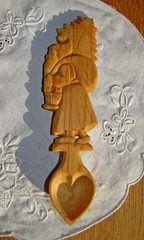 Wood carved Christmas spoon
