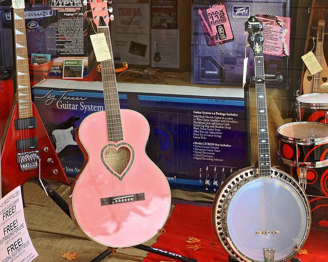 Guitar Shop Window – Caroline Street, Fredericksburg, Virginia