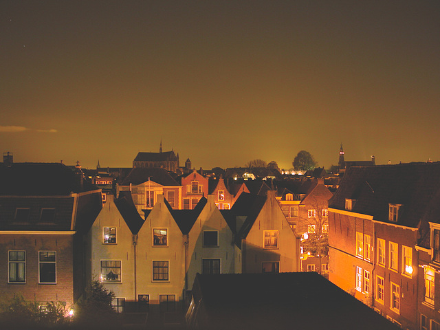 Night view of Leiden from my window
