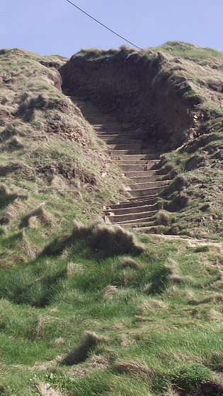 Steps up to the top of the cliff