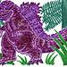 Grape-colored Godzilla in Greenery