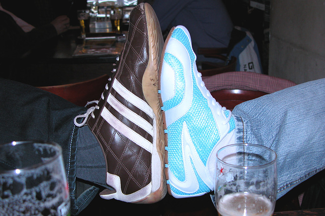 Modern shoes and  two beers