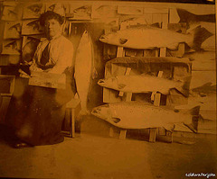 Dhuie Russell Tully with some of her salmon, in progress ~JPG