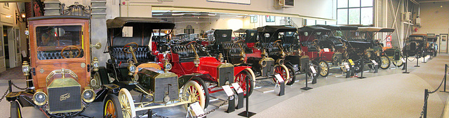Display of old Fords in the Ford Museum in Hillegom