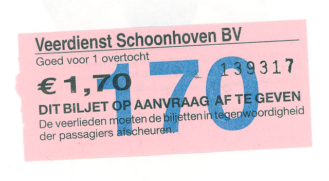Ticket for the ferry at Schoonhoven - front side