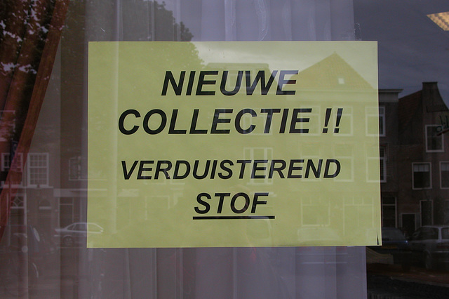 Announcement in a shop in Leiden. Untranslatable