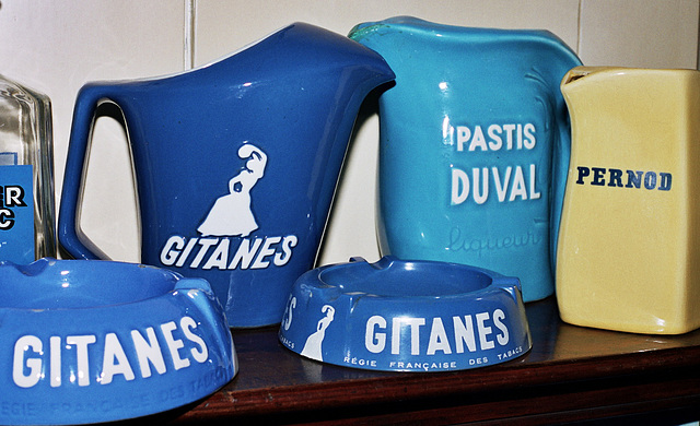 French ashtrays and water cans for the pastis