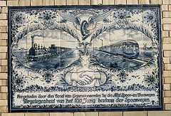 Tiles to commerate 100 years of Dutch railways in 1939 in Haarlem station