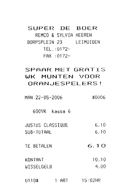 A day in the country: receipt for cigars bought in Leimuiden