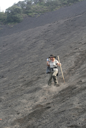 "Jo ""Skis"" Through Volcanic Gravel"