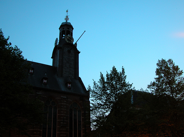 Silhouette of the Academy Building in Leiden, the Netherlands