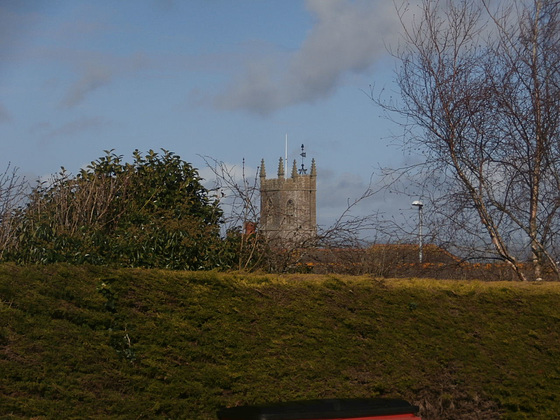 Northam church poking it's tower above the hedge