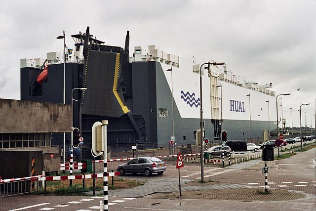 Big ship passing the sea locks at IJmuiden, the Netherlands