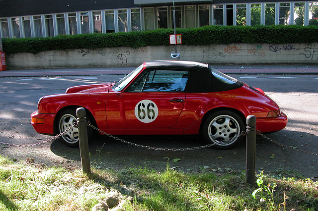 Car spotting in Germany: silly 66 painted on a Porsche