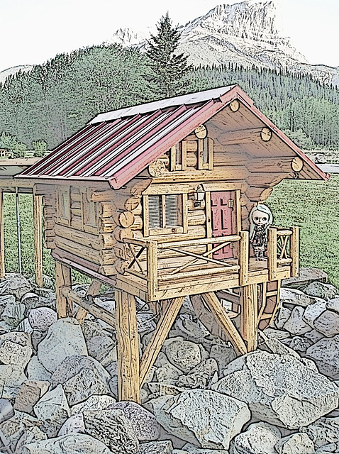 Pocahontas mini cabin...digitally altered