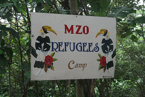 Refugee camp sign