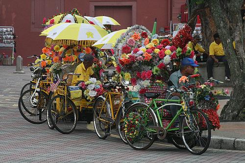 Over-decorated trishaws, Melaka