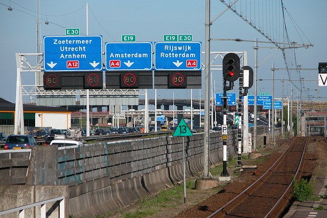 View of highway A12 in and out of The Hague and the railway from The Hague to Utrecht