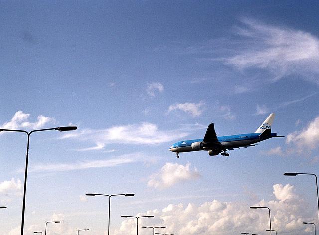 KLM landing at Schiphol