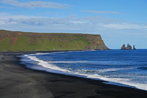 View over the black beach of Reynisfjara
