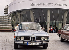 Visiting the Mercedes-Benz Museum: BMW 5-series outside the museum