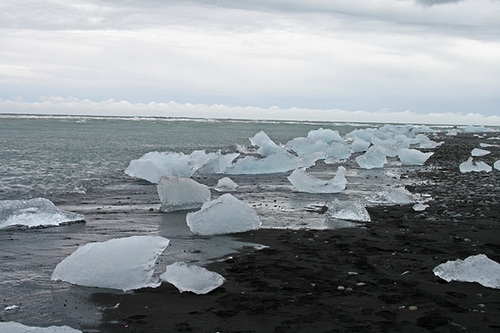 Ice washing up on the beach