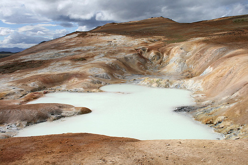 Mineral filled lake, and stained soil