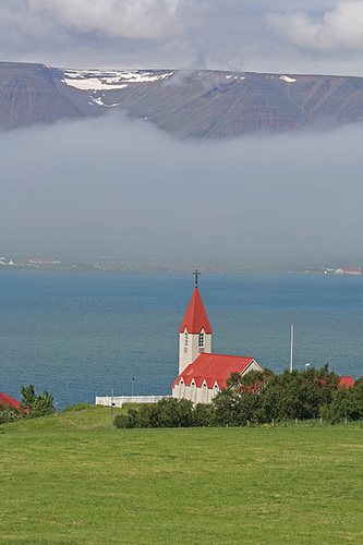 Church by a fjord